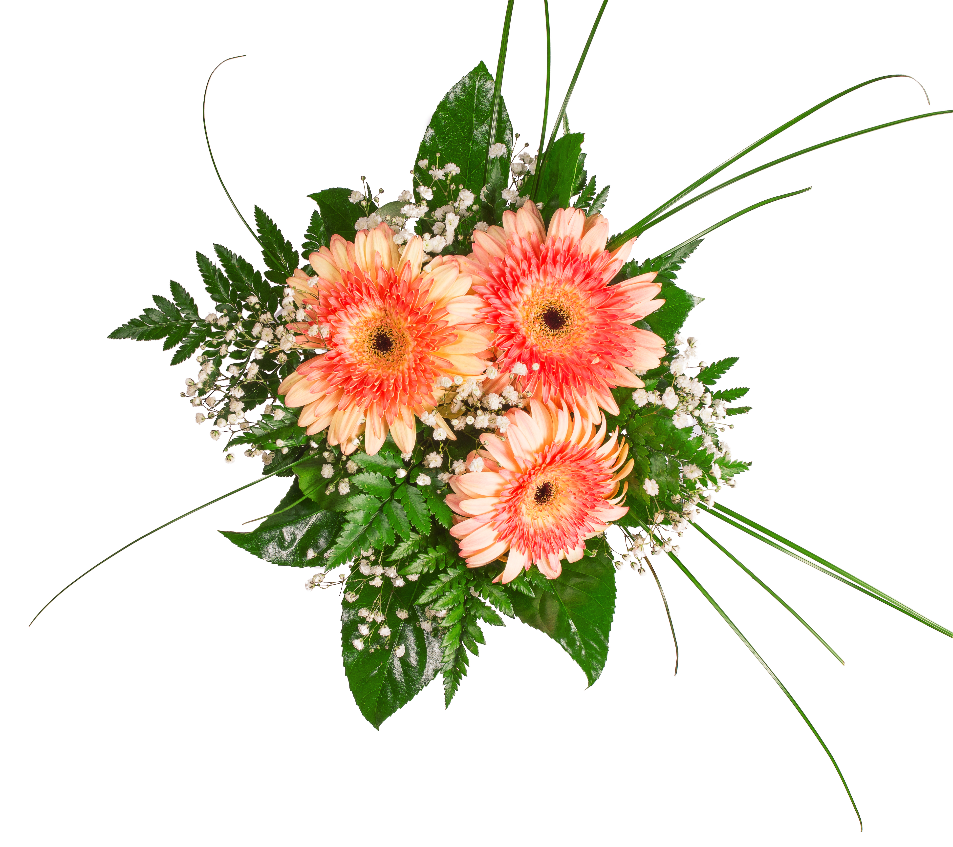Gerberas dhalia fleuriste top view of four colorful flower bouquets for birthday wedding mothers day easter izmirmasajfo Image collections
