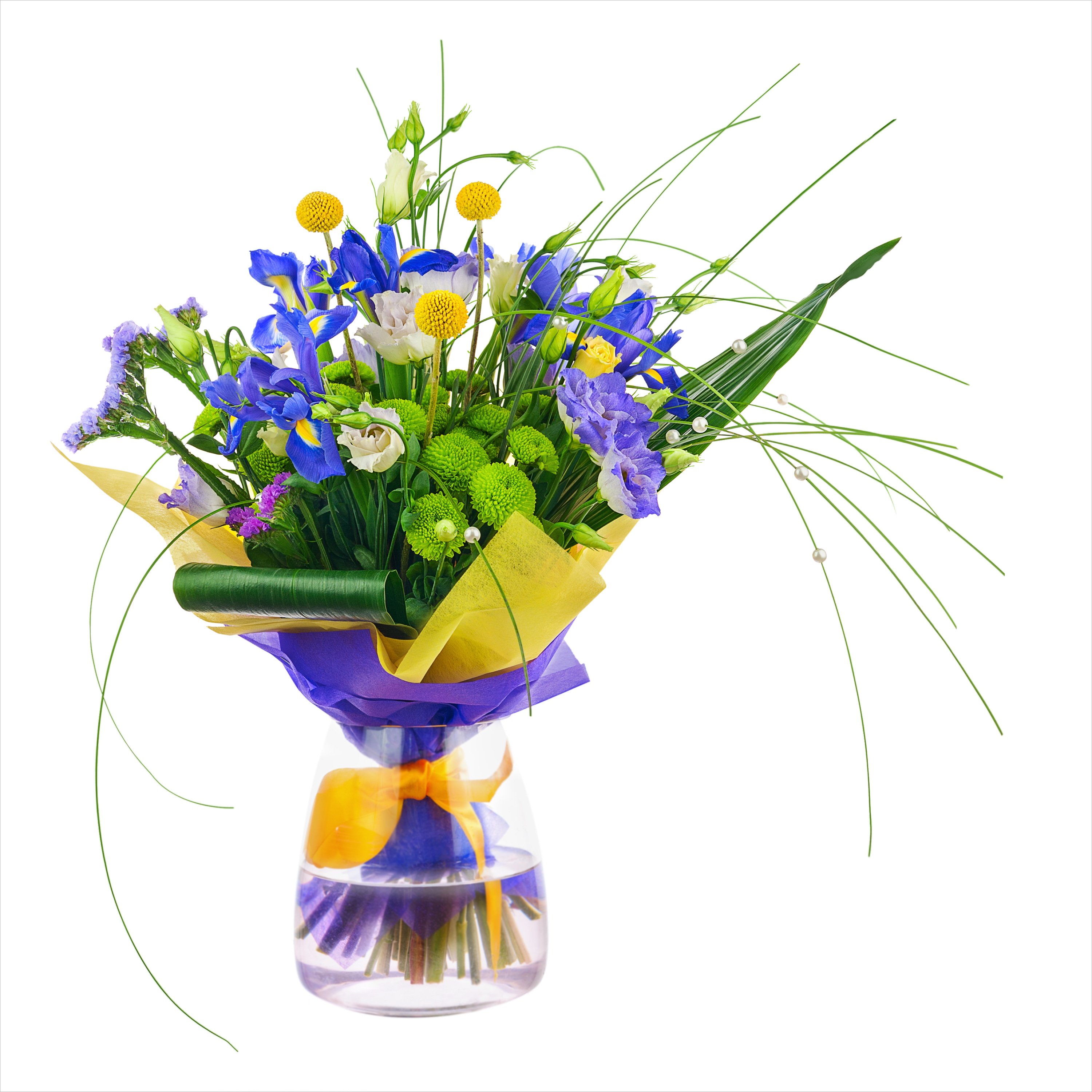 Irises dhalia fleuriste flower bouquet from roses green carnation iris and statice flowers in glass vase isolated mightylinksfo Images