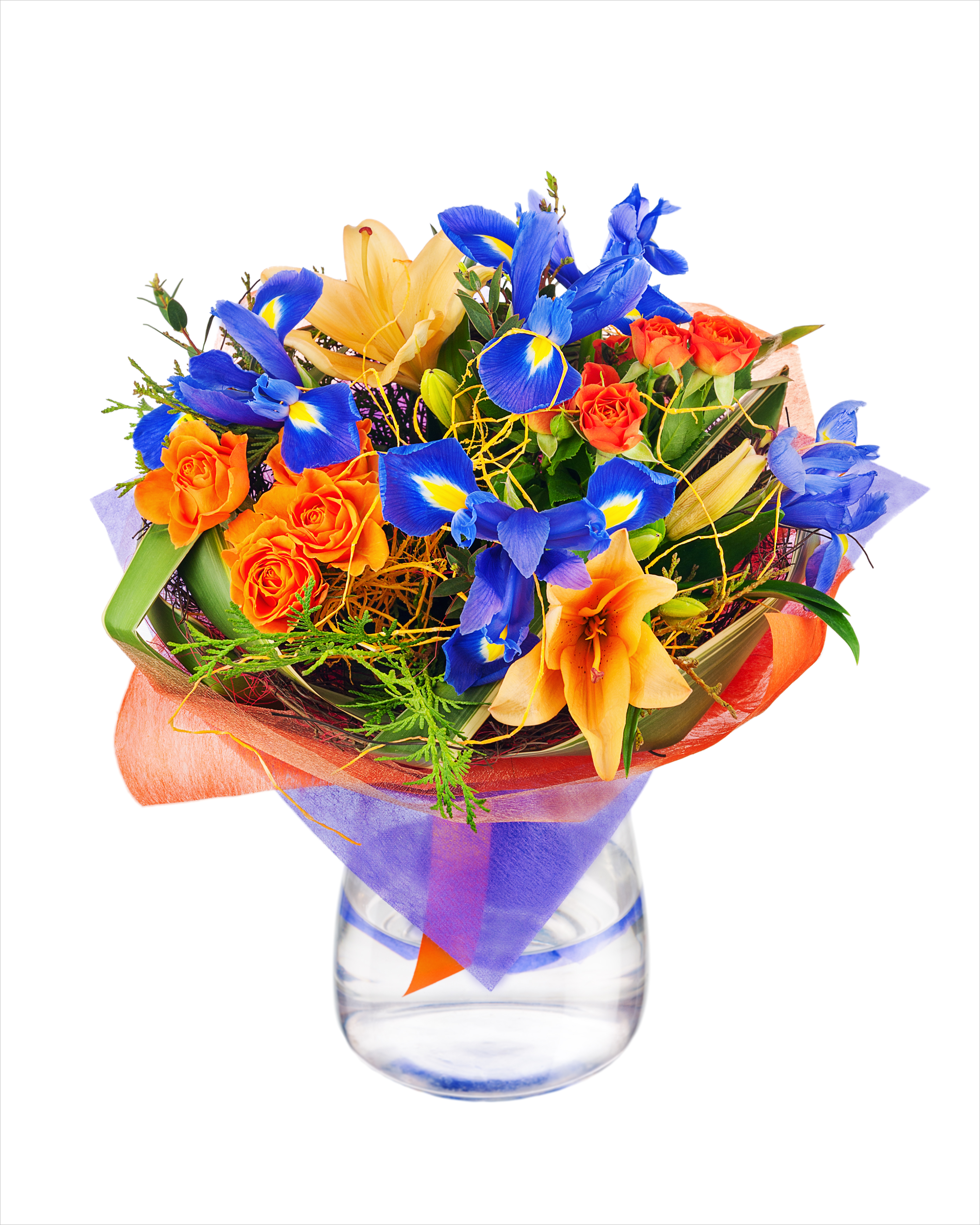 Irises dhalia fleuriste flower bouquet from roses lilies iris and other flowers in glass vase isolated on izmirmasajfo