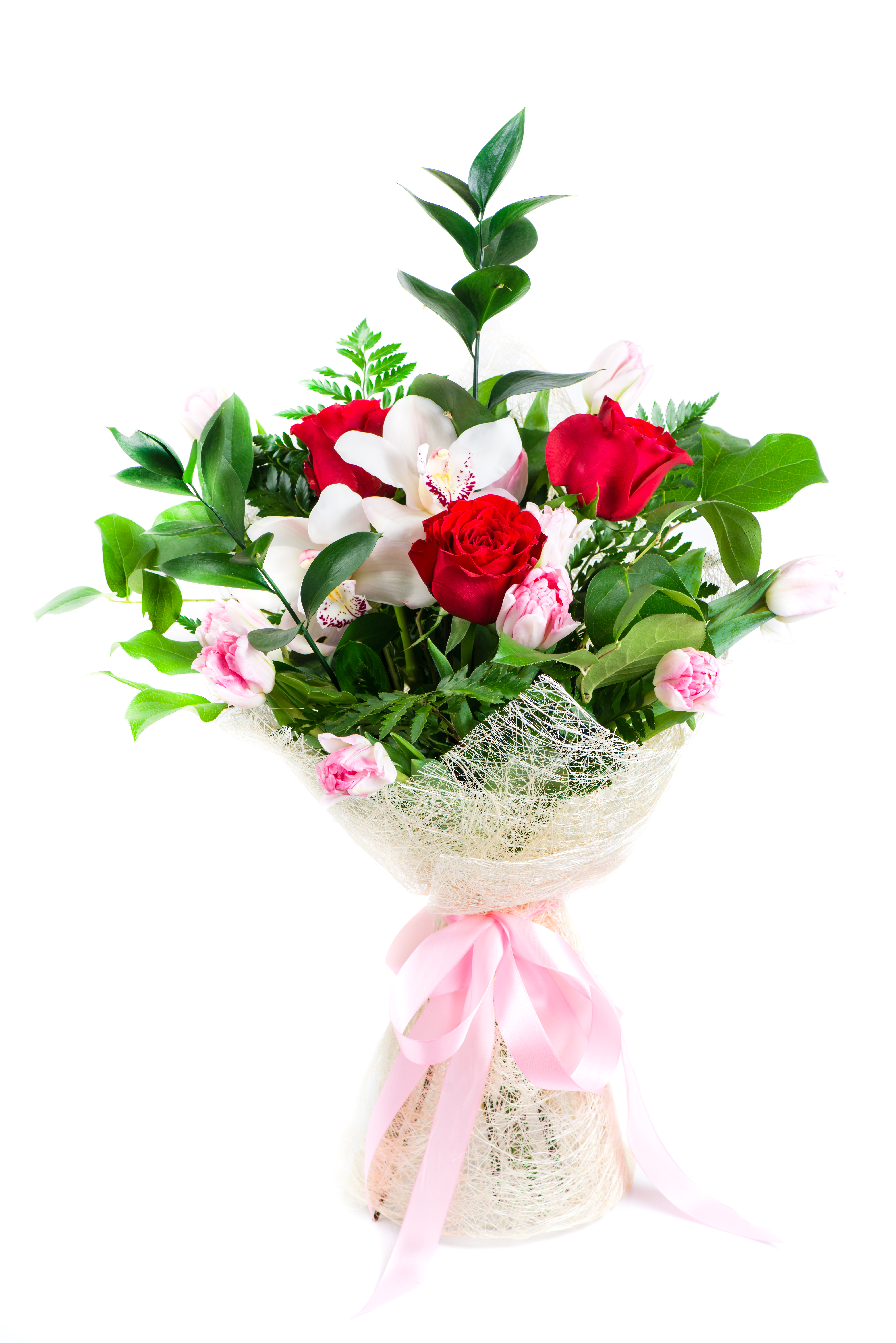 Orhids dhalia fleuriste beautiful floral bouquet of roses orchids tulips and ruskus with herbs isolated on izmirmasajfo