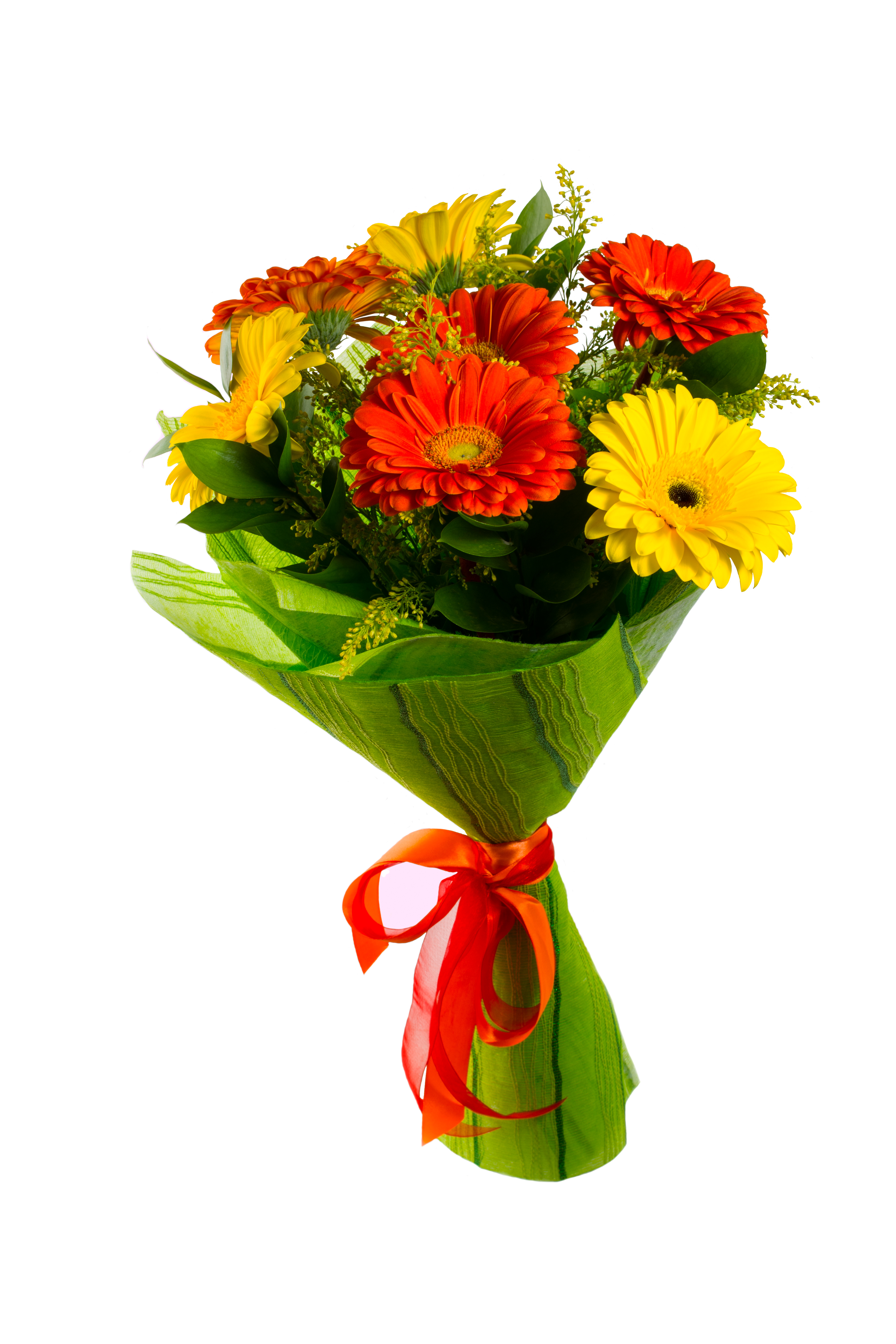 Gerberas dhalia fleuriste red and yellow flower bouquet isolated on white greeting background flowers greeting card mightylinksfo